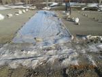 ПК161,лево. Устройство бетонной подготовки для плавного съезда автотранспорта с покрытия